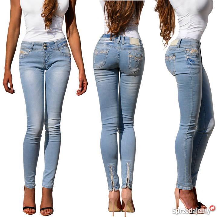 e90899ec Spodnie Damskie Jeans Denim Rurki Kobiece Koronka Haft #576