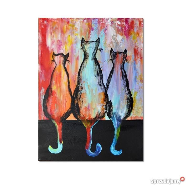 Koty ML 3 obraz ręcznie malowany Dekoracje i ozdoby