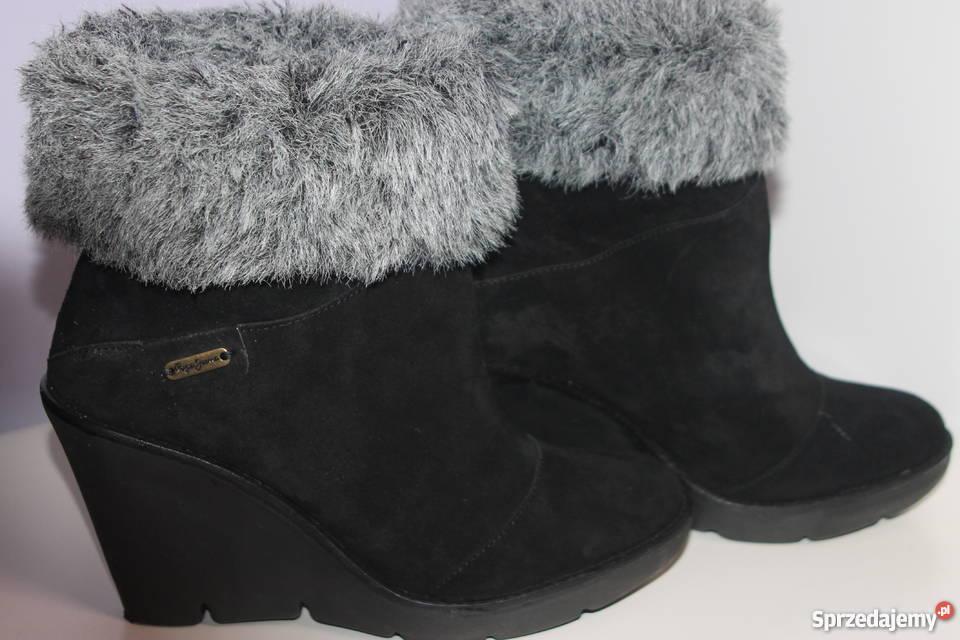 ff7a86246954cd czarne botki koturny - Sprzedajemy.pl