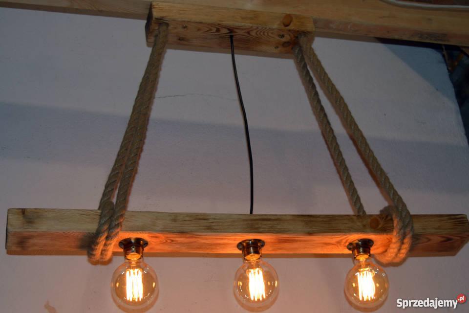 Lampa wisząca stara belka drewniana LOFT VINTAGE Wyposażenie wnętrz