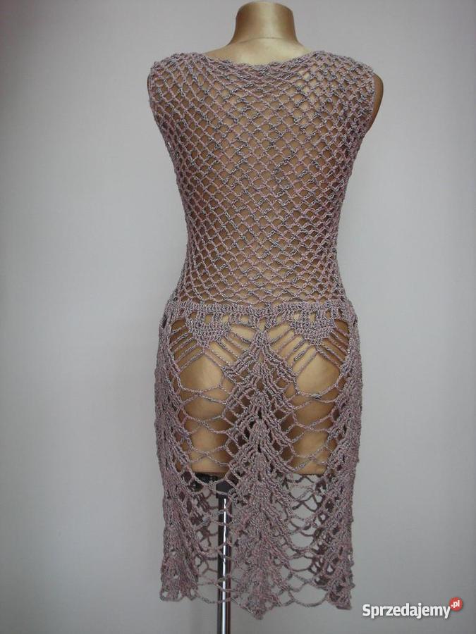 Rękodzieło sukienka robiona na szydełku z wysyłk