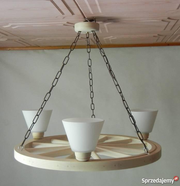 Lampa żyrandol drewniany kolo Sucha Beskidzka