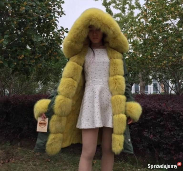 Damska zimowa ciepła parka futro naturalne S XL od ręki