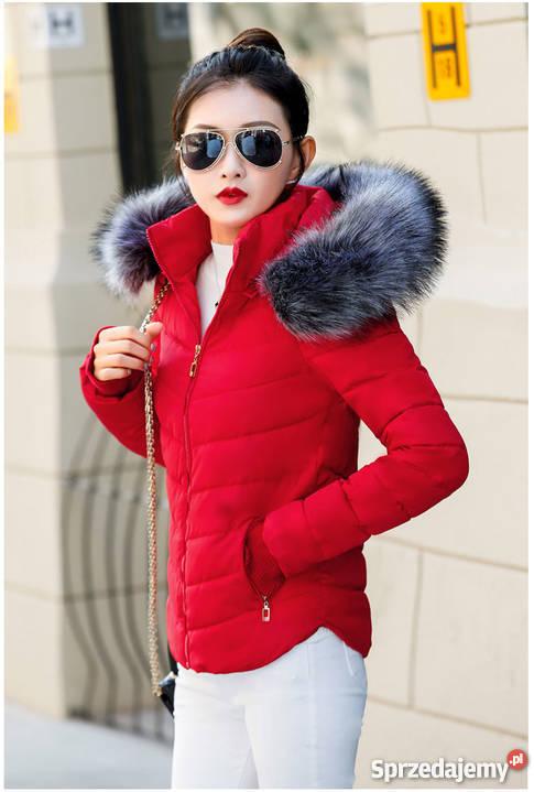 Czerwona pikowana damska ocieplana kurtka roz M