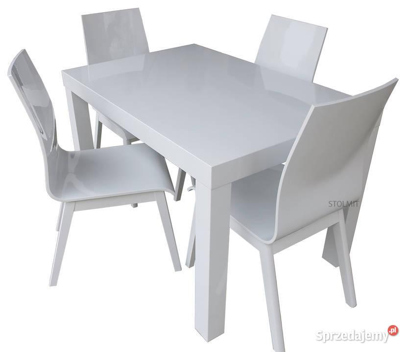 Stół biały połysk z 4 krzesłami sklejka na każdy wymiar