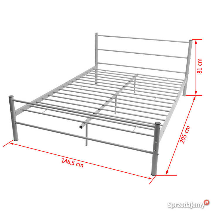 Vidaxl Metalowa Rama łóżka 140 X 200 Cm Szara 244056