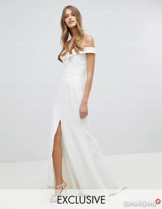 Minimalistyczna Suknia ślubna Z Rozcięciem Klasyka Lxl Xxl