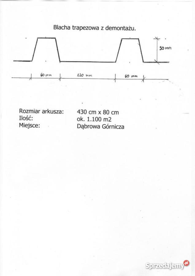 Blacha trapezowa z demontażu śląskie Dąbrowa Górnicza