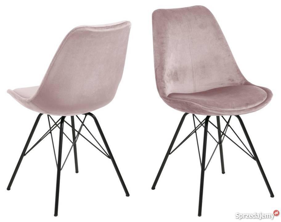 Piękne welurowe krzesło blady róż