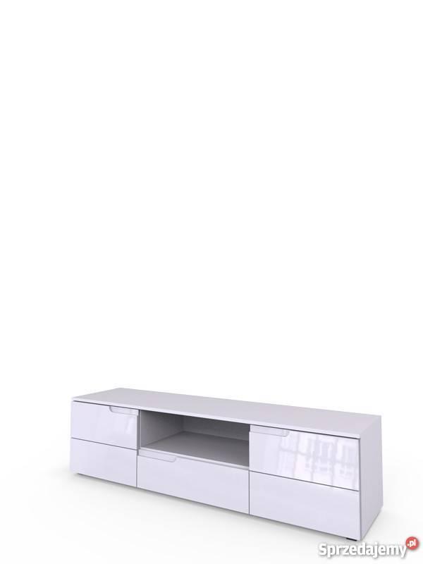 SELENE 9- nowoczesna biała szafka rtv z jedną szufladą i pod