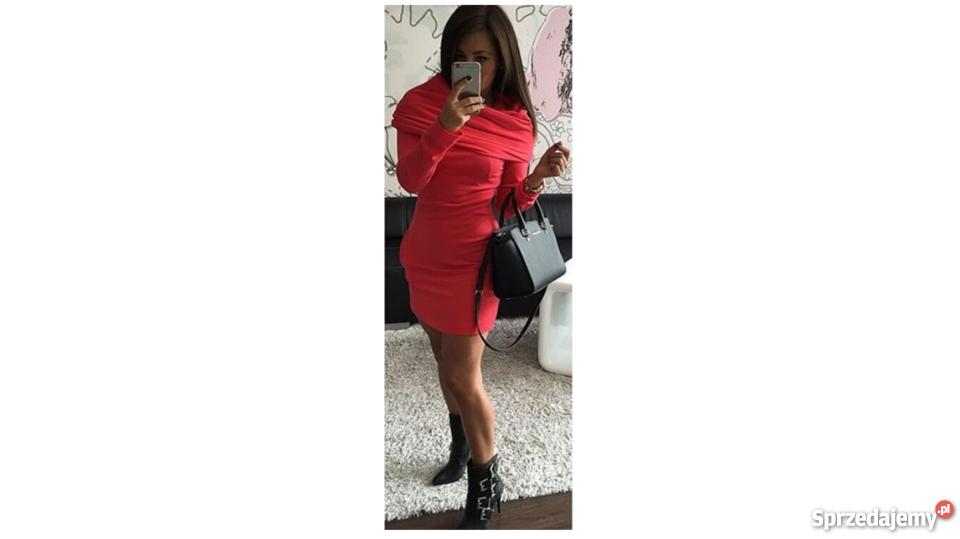 1e2fe17f Nowa Czerwona Dresowa Sukienka Mini Rozmiar (S)
