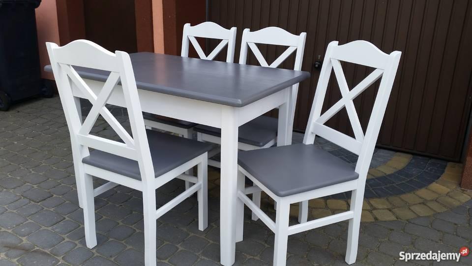 Komplet stół 110x70 i 4 krzesła  prowansalski biały szary