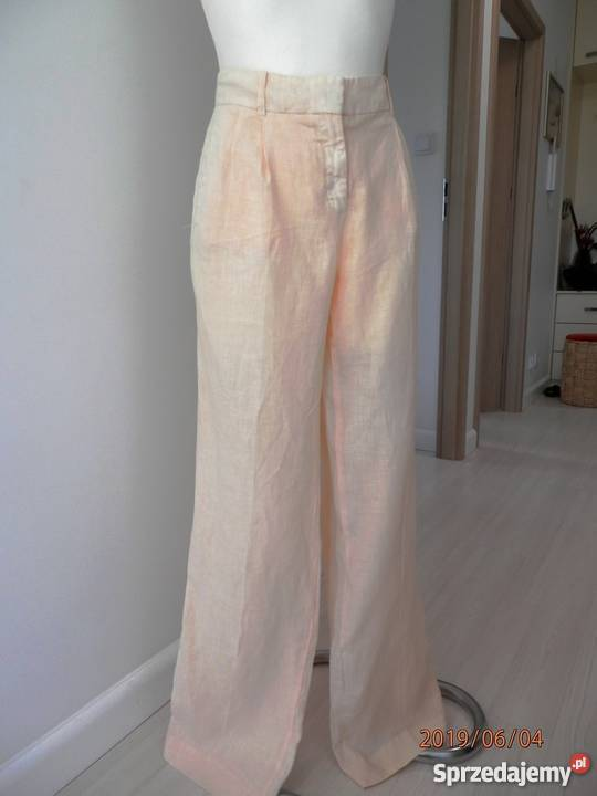 Spodnie Zara Lniane Nogawki Szerokie Pastelowe Nowe z Metką