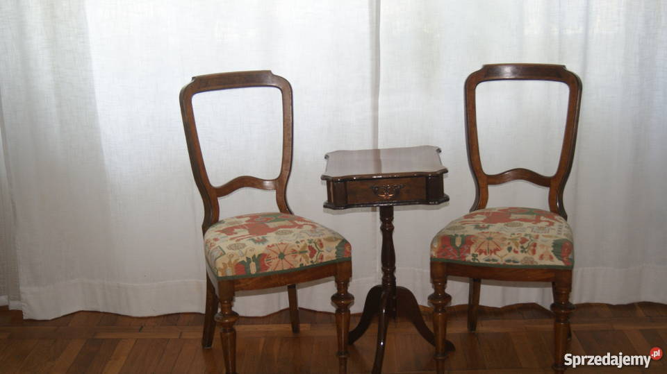 Krzesła Stylowe Toczone Nogi Intarsja Tapicerowane 2 Szt