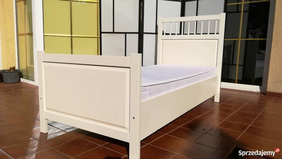 łóżko Pojedyncze Białe Ikea Materac Stelaż Rama