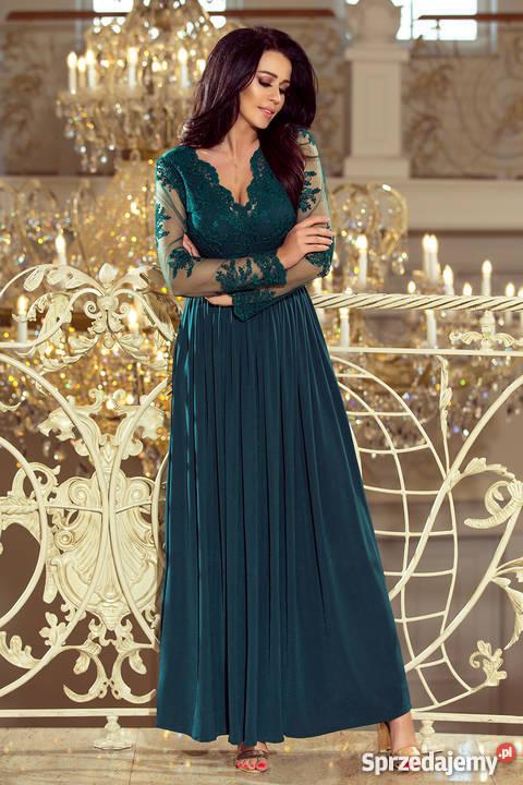 JOKASTYL długa sukienka zieleń długi rękaw haft S M L XL