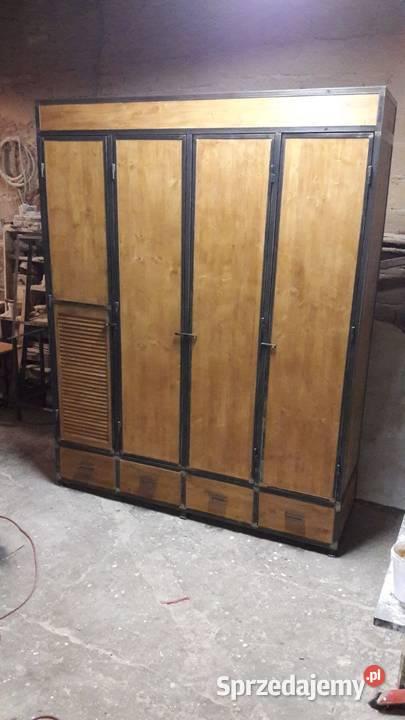 Industrialna szafa ubraniowa 4 drzwiowa z szufladami loft