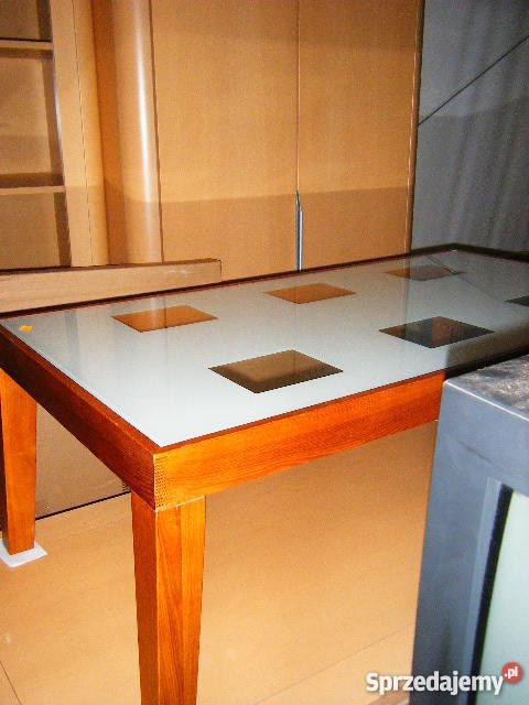 ŁAWA DREWNIANA Z BLATEM SZKLANYM Stoły, krzesła, biurka