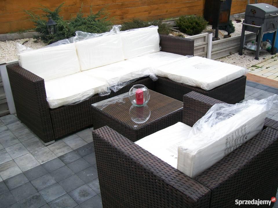 sofa fotel naroznik zestaw mebli technorattan beże i brązy  Meble ogrodowe Bosutów