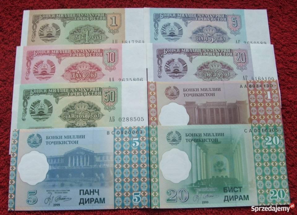 TADŻYKISTAN Kolekcjonerskie Banknoty Zestaw 8 Katowice