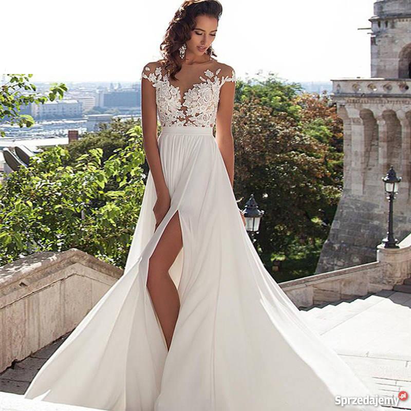 Suknia ślubna Sukienka Linia A Koronka 34 36 38 40 42 44 46 Jelenia