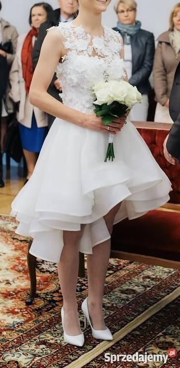 8f2119872a Suknia ślubna asymetryczna piękna z kwiatami 3D Rozmiar 36(S) Warszawa