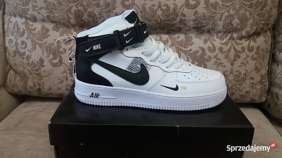 Oryginalne Nike Air Force 1 07 Mid All white Białe 45