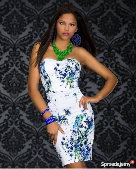 55e62fd196 biała sukienka ołówkowa w niebieskie kwiaty 38 Oświęcim - Sprzedajemy.pl