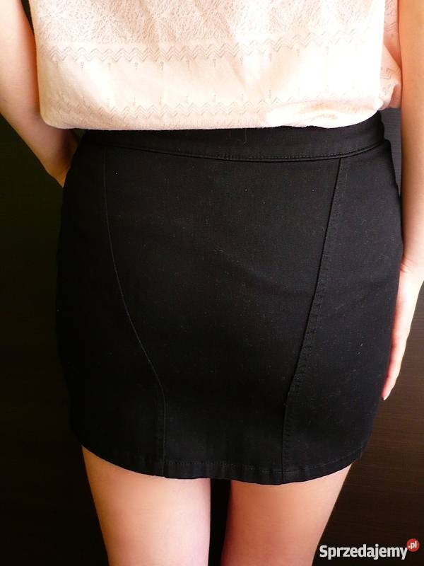 67a8ab14d0 Czarna krótka spódniczka jeansowa z zamkami H M 34 XS jeans Toruń ...