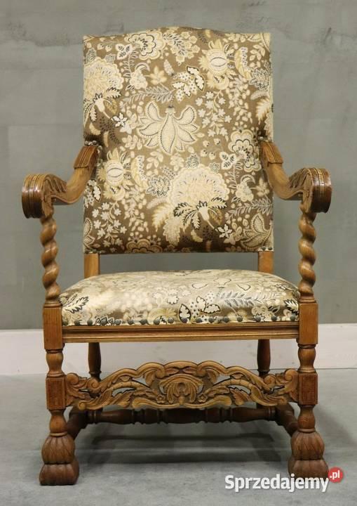 2128 piękny, rzeźbiony fotel