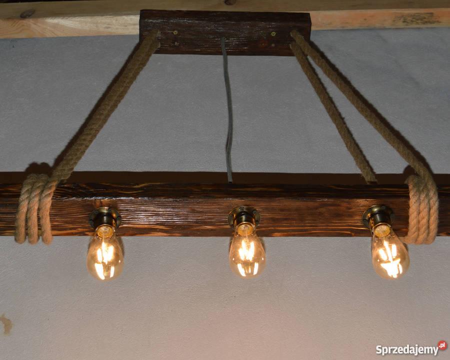 Lampa wisząca stara belka drewniana LOFT VINTAGE Szczecin