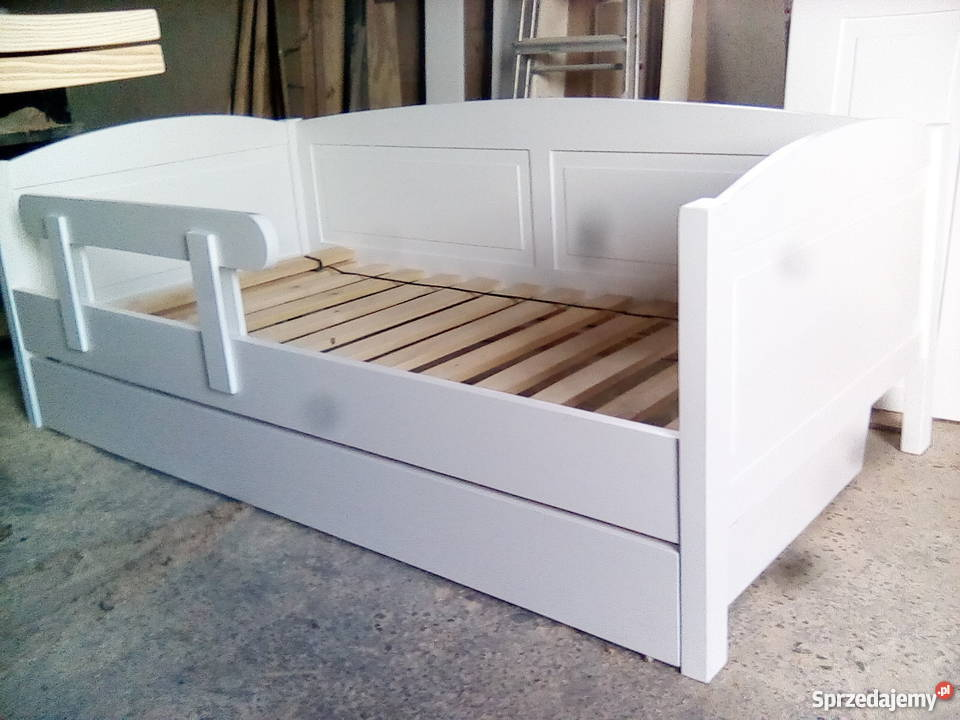 Łóżko, drewniane białe sosnowe 80x180 z szufladą