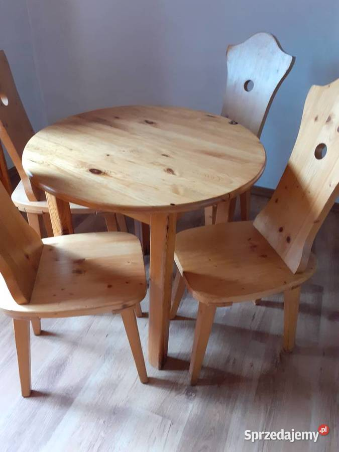 Sosnowy stół i 4 krzesła - wymairy 80/80/76