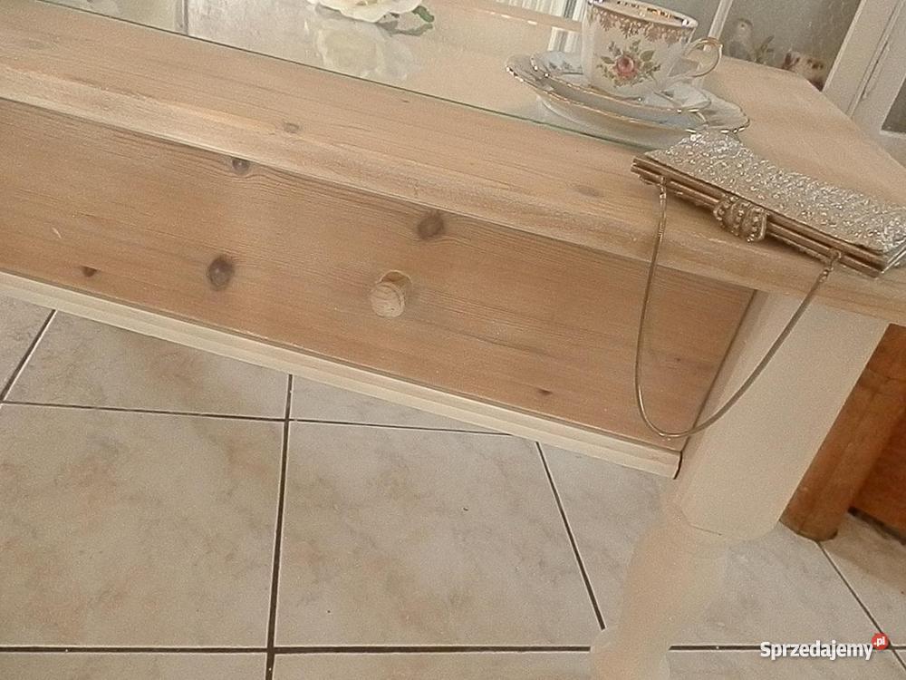 Ława niski stolik shabby chic prowansja biała Lubin