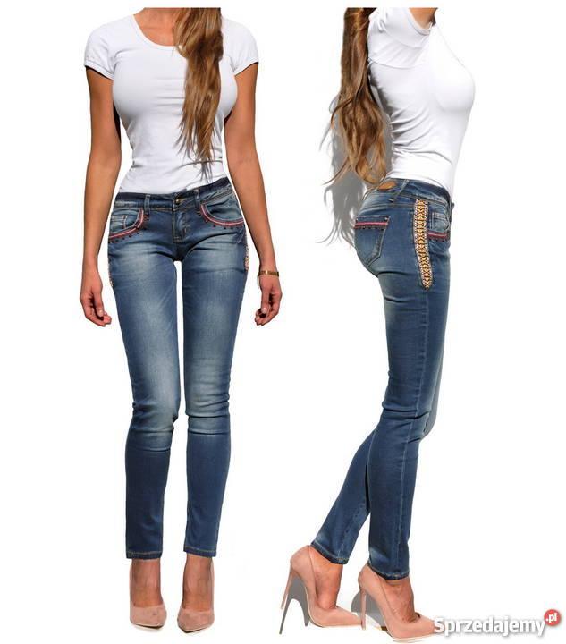 ff967389 Spodnie Damskie Jeans Denim Kobiece Lampasy Koraliki #419