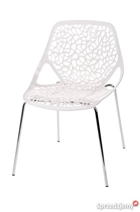 Ażurowe Białe Krzesło Do Salonu I Kuchni