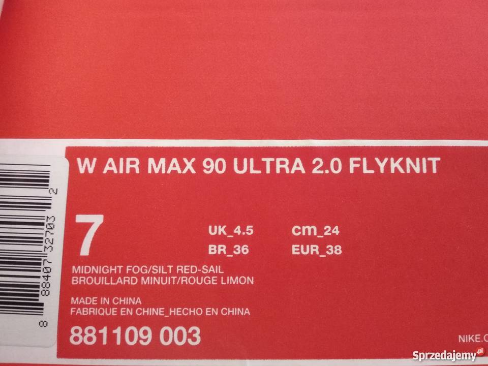 Nik Air Max 90 Ultra 2.0 Flyknit roz.38,5 nowe oryginalne
