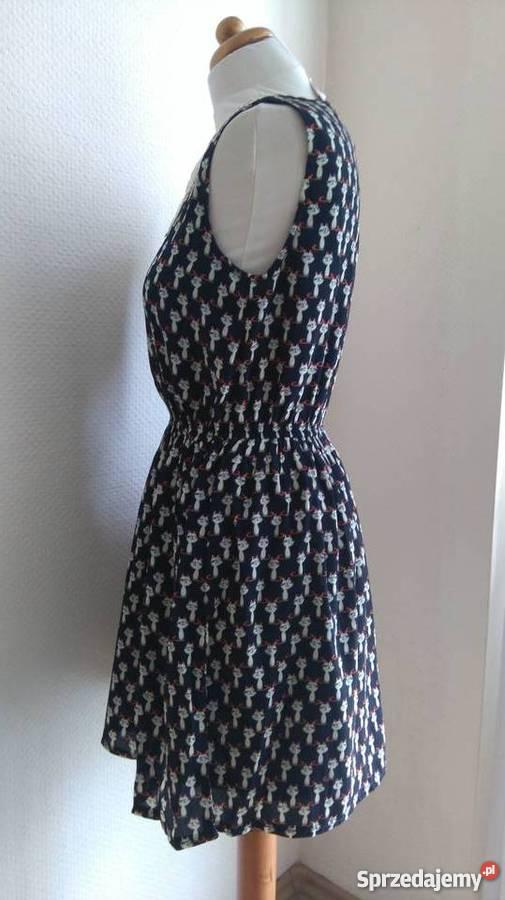 Ogromny NOWA New Look Sukienka w kotki koty kot Granatowa - Sprzedajemy.pl SL77