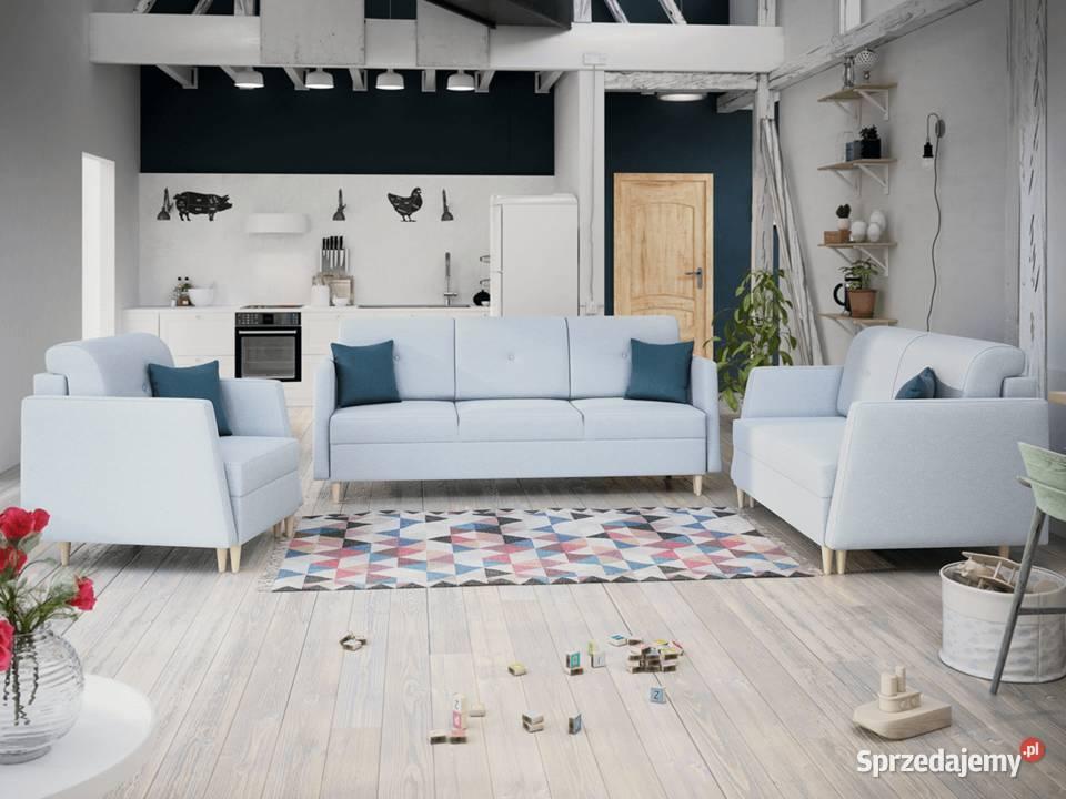 Zestaw NORDAL 3+2+1 fotel kanapa funkcja spania
