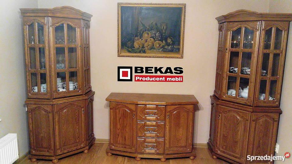Dwie Witryny Narożne Komoda Komplet Dąb Rustikal od Bekas