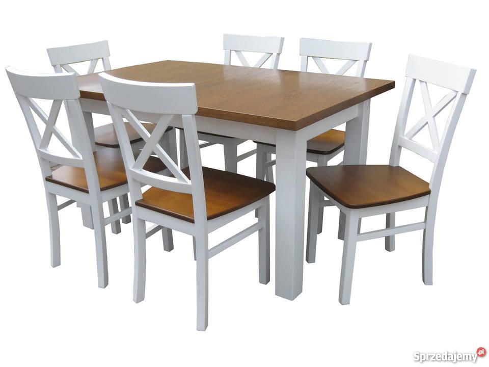 Komplet prowansalski stół 120x80/190 i 6 krzeseł nowe