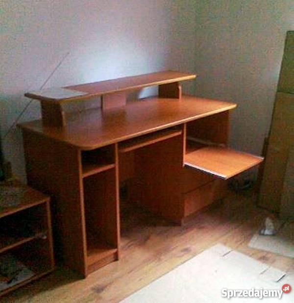 Biurko duże wygodne z ruchomą nadstawką-olcha
