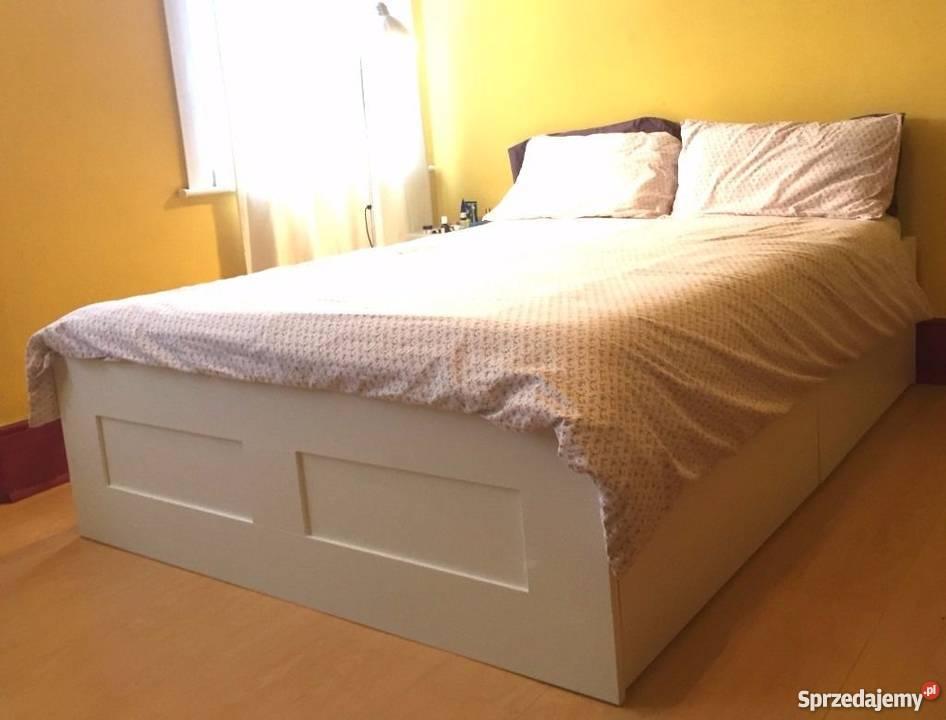 łóżko Dwuosobowe Brimnes Ikea Białe 140x200 Transport