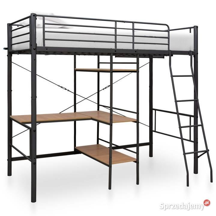 vidaXL Rama łóżka piętrowego z biurkiem, czarna 287907