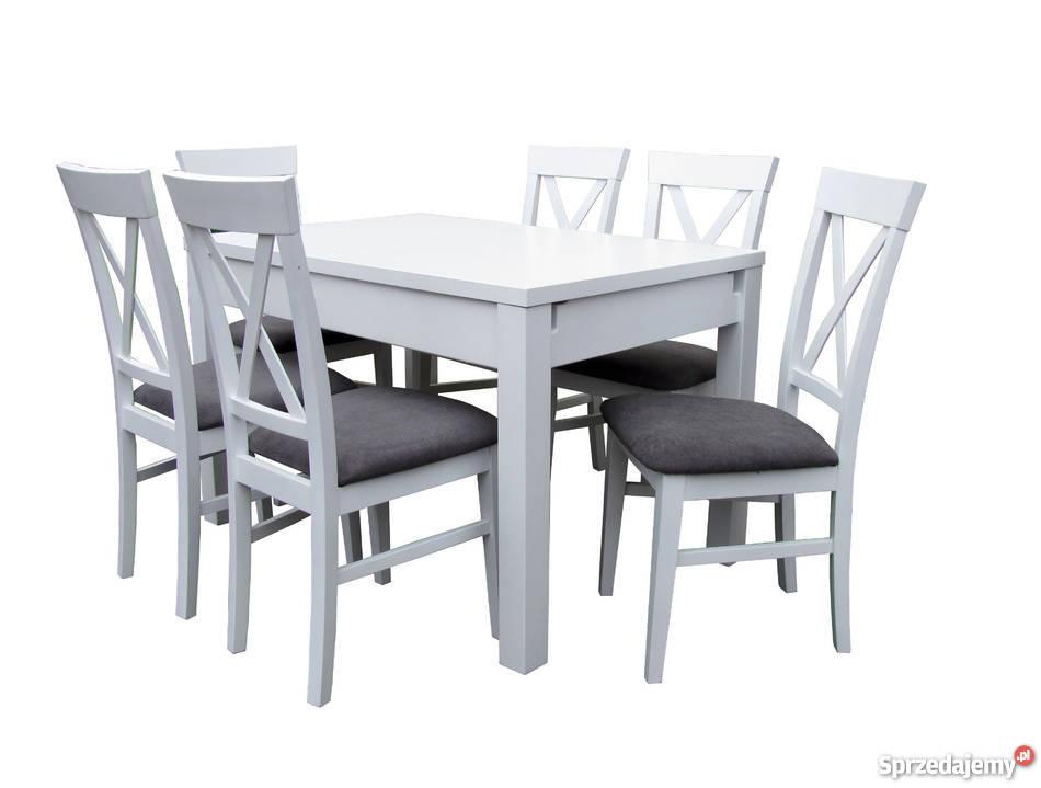 Prowansalski stół 120x80/190 i 4 krzesła biały rozkładany