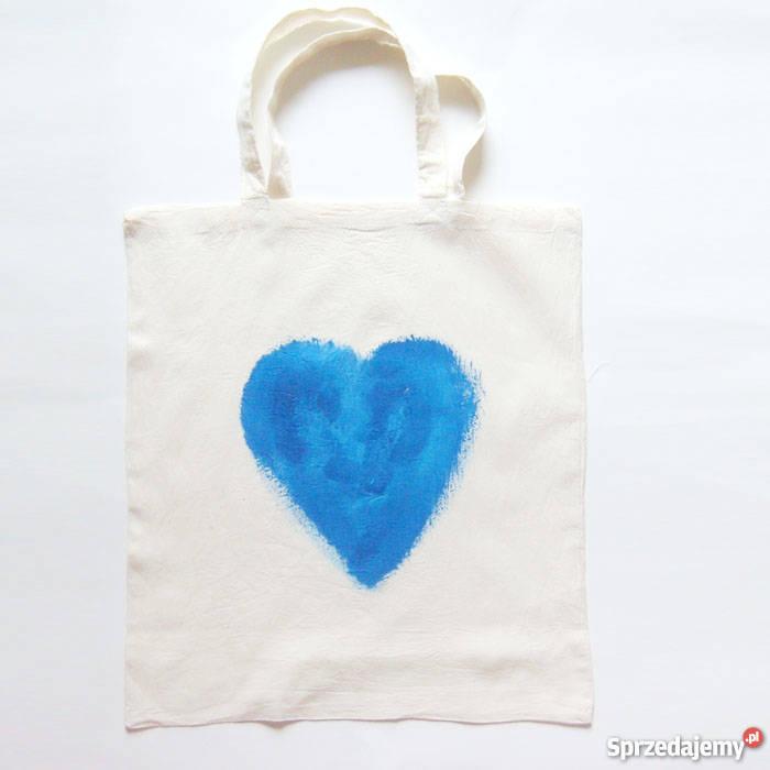 5969fb2ae4d6b torba z bawełny serce niebieskiegrantowe serce 40cm Katowice