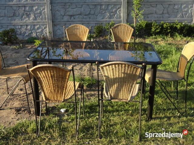 Krzesla holenderskie stalowe + stół