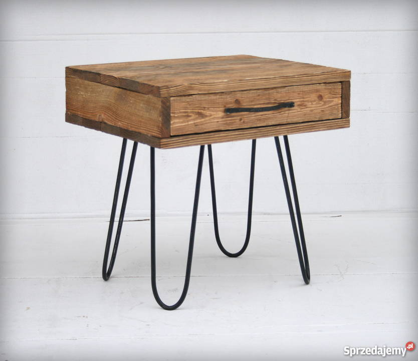 Unikalne Szafka nocna | lite drewno metal | loft stolik pomocnik Mielec CC36