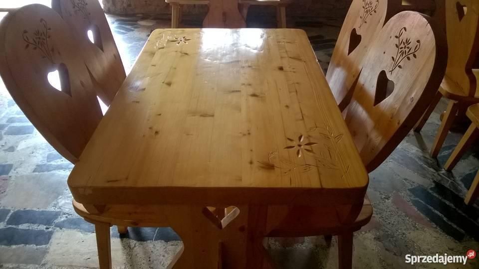 Inne rodzaje Komplet stół + cztery krzesła pełne drewno,góralskie Szczyrk UK33
