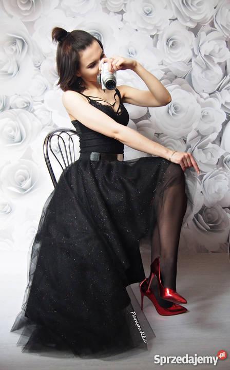 Asymetryczna spódnica tiulowa maxi z brokatem długa wesele
